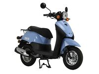 Sinnis Flair 50cc moped baby blue with topbox helmet jacket etc *Re-listing due to timewasters*