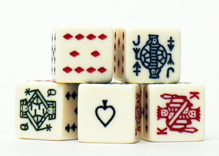 Poker Dice - 5 count Set Game Five Die Piece Ace,King,Queen,Jack,Ten A K Q J 10