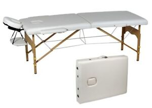 Table de massage portative, lampe-loupe sur pieds, banc selle.