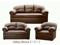 New Brown Leather 3 2 1 Sofas Couch Settee
