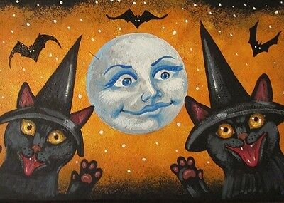 ACEO PRINT OF PAINTING RYTA HALLOWEEN VINTAGE STYLE BLACK CAT WITCH BAT MOON ART - Paintings Of Halloween