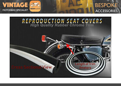 [A941] HIGH QUALITY MOTORCYCLE CHROME RUBBER SEAT COVER TRIM 2M LENGTH