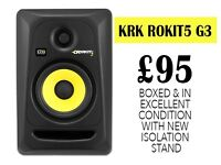 1 BOXED KRK ROKIT5 (G3) SPEAKER WITH FREE STAGG STEREO JACK2JACK, ISOLATION PAD. EXCELLENT CONDITION