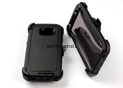 For Samsung Galaxy S7 Edge Defender BLACK Case [Belt Clip Fits Otterbox]
