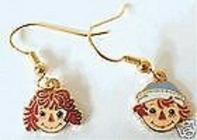 Raggedy Ann and Andy dangle earrings cloisonne' Storybook Tale