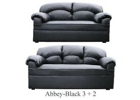 New Black Leather 3 + 2 Sofa Couch Settee