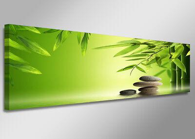 Bilder Leinwand 120 x 40 Bambus Steine auf Rahmen Wandbild Visario Bild 5713