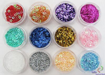 12 Döschen  Glitter Pailetten Splitter  Farben Form
