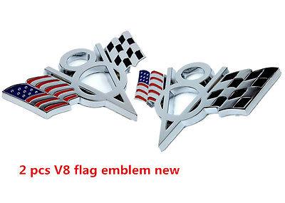 Fashion Car Pickup 2 Pcs V8 US Racing Flag Emblem Badge Sticker Metal Chrome
