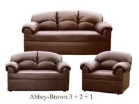 New Brown Leather 3 2 1 Sofa Couch Settee