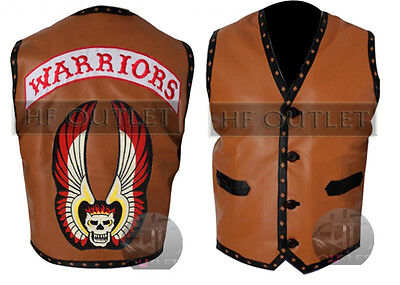 THE WARRIORS MOVIE LEATHER VEST JACKET - MEN'S BIKE RIDERS HALLOWEEN COSTUME - Warriors Movie Costume