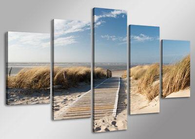 Bild 5 tlg Nordsee Leinwandbild gerahmt 160x80cm XXL Bilder Nr 5517>  Visario