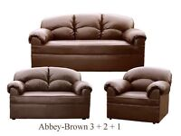 New Brown Leather 3-2-1 Sofa Couch Settee