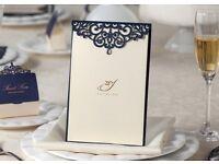 Unique and elegant laser cut wedding invitations