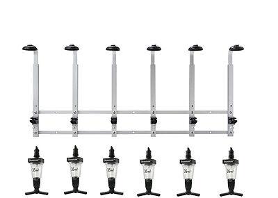 6 BOTTLE WALL MOUNTED OPTIC STAND BRACKET RAK RAIL + 6 25ml OPTICS pub bar