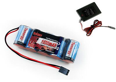 Tenergy 5 Cell 6V 1600mAh NiMH Flat Receiver Battery Pack W CHARGER Revo 2.5/3.3 ()