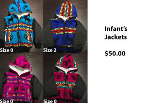 Adult, child and Infant Jackets: Material Wool & Acrylic
