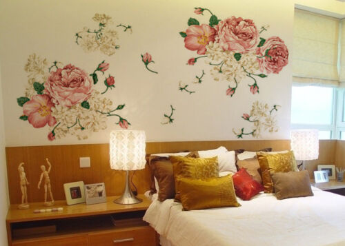 Home Decoration - Nice Peony Flowers Mural Art Wall Decals Removable PVC Sticker Home Decor