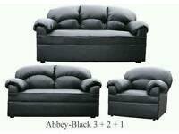 New Black Leather 3 2 1 Sofas Couch Settee
