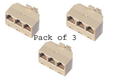 Pack 3 Ivory Colored 3-Way Telephone Outlet Adapter/ Splitter Connector  ()