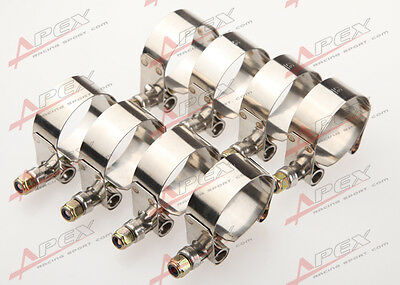 """8PCS 1.25"""" inch Turbo Pipe Hose Coupler T-bolt Clamps Stainless Steel 37-42mm"""