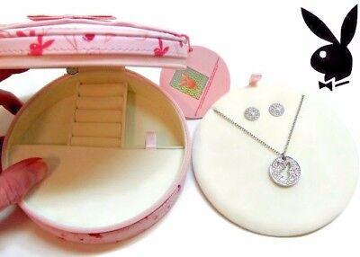 Playboy Jewelry Set Bunny Necklace Earrings Logo Silver Swarovski Crystal Box -