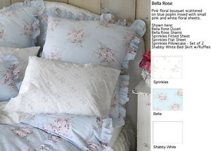 Rachel Ashwell Shabby Chic Bella Rose Blue Fabric Pink Flowers By Yard Poplin
