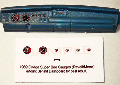 1969 DODGE SUPER BEE 440 SIX PACK GAUGE FACES for 1/24 REVELL - MONOGRAM KITS