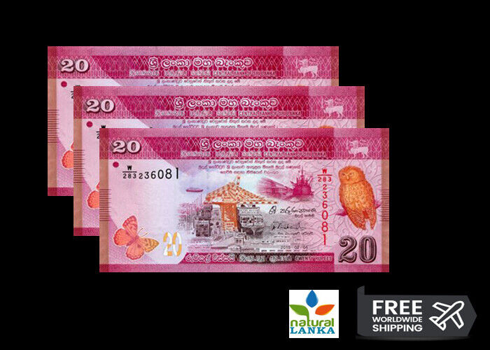 Lot of 5 Bank Notes from Sri Lanka 20 Rupees Uncirculated