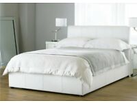 Ottoman Double Bed White Faux Leather & Silent Night Mattress