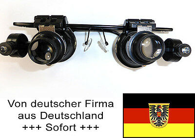 Uhrmacher-Lupenbrille, 20-fach vergrößernd mit Licht