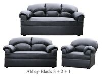 New Black Leather 3 2 1 Sofa Couch Settee