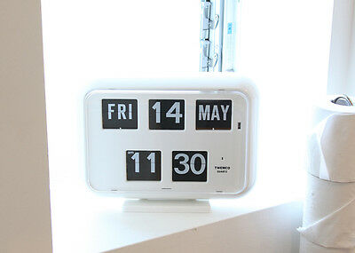 NEW TWEMCO Calendar Flip Clock QD-35 WHITE German movement F/S japan w/Track