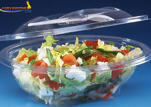 50 pcs Plastic Disposable Clear BOX Container Hinged Lid Fork Salad SLV500SP