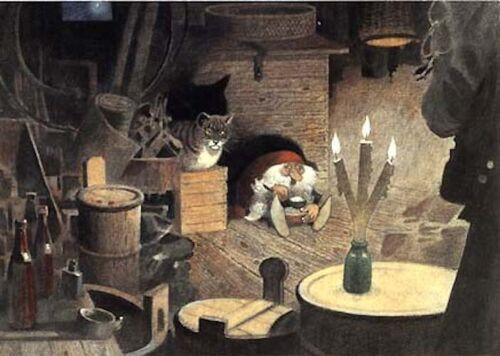 Harald Wiberg Postcard Elf / Tomte Tabby Cat Porridge Fairy Tale Sweden
