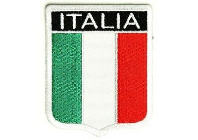 """Used, (B16) ITALIAN FLAG SHIELD 2.5"""" x 3.25"""" iron on patch (2618) Italy for sale  Columbus"""