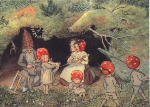 Elsa Beskow Postcard Mushroom Children Home Family Fairy Tale Tomte Elf