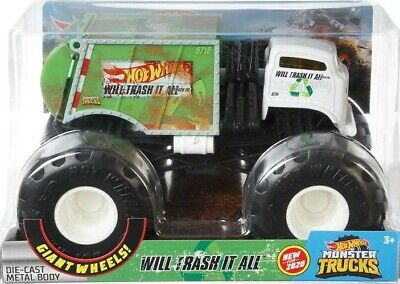 Hot Wheels Monster Trucks 1:24 Scale Assortment Will Trash It All Kid Toy Gift