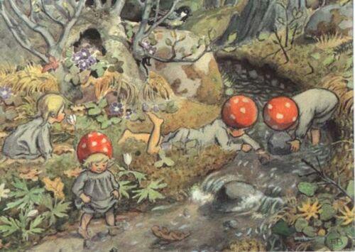 Elsa Beskow Postcard Mushroom Children Play In Creek Fairy Tale Tomte Elf