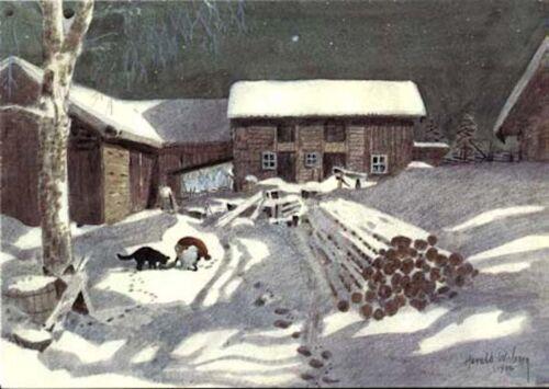 Harald Wiberg Postcard Elf / Tomte Cat Farm Snow Winter Eve Fairy Tale Sweden