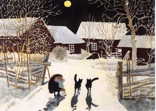 Harald Wiberg Postcard Elf / Tomte Cats Farm Winter Fairy Tale Sweden