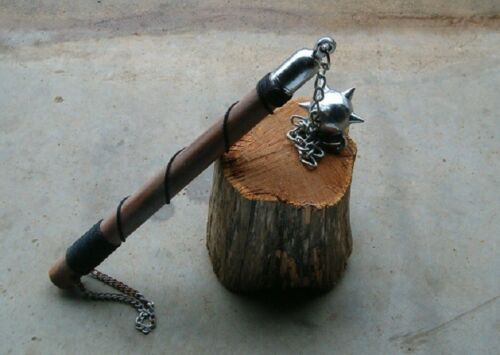 One Ball Battle Wood Handle Battle Mace , Flail ,Medieval Weapon, FREE SHIP