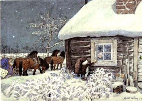 Harald Wiberg Postcard Elf Tomte Child Horses Winter Fairy Tale Christmas Sweden