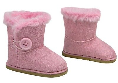 "Lovvbugg Pink Button Shearling Ewe Uggly Boots for 18"" American Girl or Bitty Baby Doll Shoes"