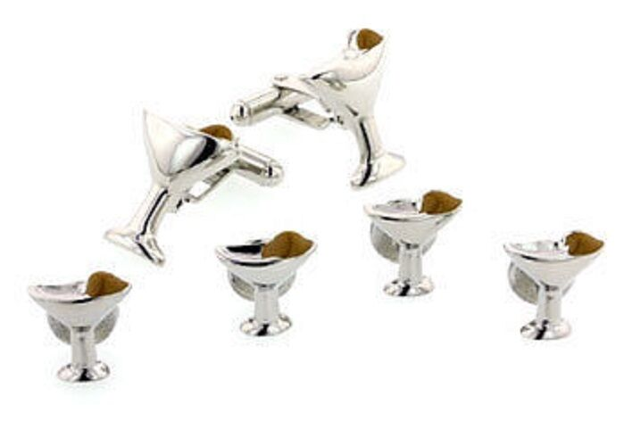 Martini glass and olive cufflinks and shirt studs