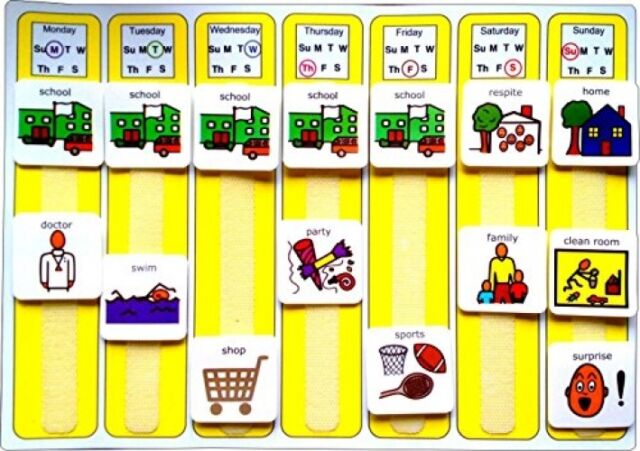 Sensory Visual Learning Board PECs Weekly Planner Autism Special Needs Symbols