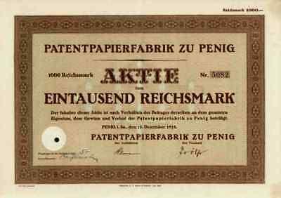 Patentpapierfabrik Penig AG 1928 Leipzig Zschopau Reisewitz Sachsen 1000 RM