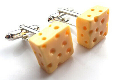 Block Of Cheese (GORGEOUS HANDMADE BLOCK OF CHEESE CUFFLINKS + FREE GIFT BAG + FREE)