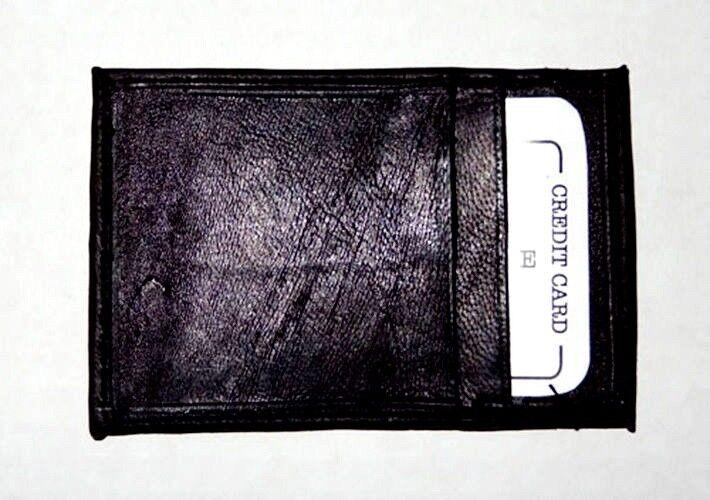 BLACK Mens Genuine LEATHER THIN Credit Card ID Wallet  Holder Front Pocket