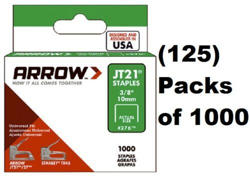 "(125) Arrow Fastener # 276 JT21 JT21CM TR45 1000 Pack 3/8"" Staples"